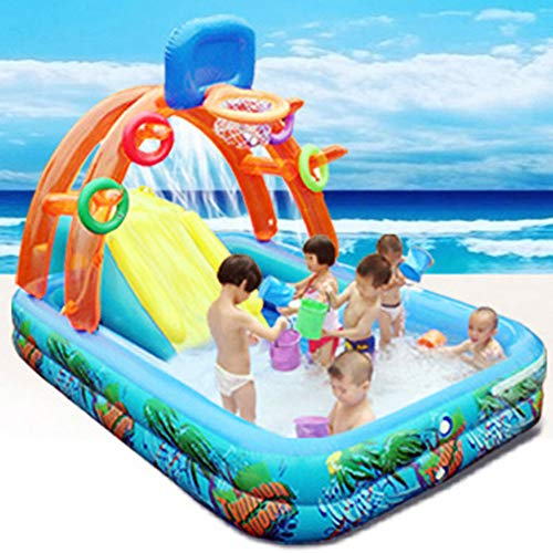 WUBAILI Water Slide for Children Fun Lawn Inflatable Mega Water Park Bouncy Castle with Swimming Pool, Water Slide And Water Gun,188 * 137 * 34cm