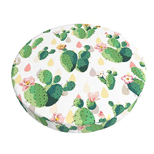 KUOAICY Cactus and Flowers Plants Round bar Chair Cushion Cover Non Slip Soft Seat Cover Protector Elastic