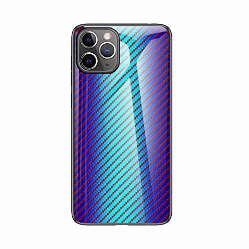 Miagon Glas Handyhülle für iPhone 11 Pro Max,Kohlefaser Serie 9H Panzerglas Rückseite mit Weicher Silikon Rahmen Kratzresistent Bumper Hülle für iPhone 11 Pro Max,Blau