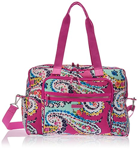 Vera Bradley Iconic Deluxe Weekender Travel Bag, Signature Cotton, Wildflower Paisley, One Size