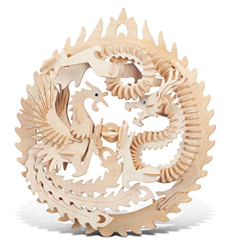 Puzzled 3D Puzzle Lucky Dragon & Phoenix Wood Craft Construction Model Kit, Educational DIY Wooden Toy Assemble Model Unfinished Crafting Hobby Puzzle to Build & Paint for Decoration 147 Pieces Pack