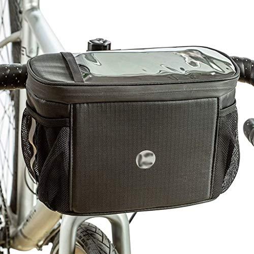 Bolsa para manillar de bicicleta Bolsa impermeable para cuadro de bicicleta con pantalla táctil Bolsa de almacenamiento de almuerzo con aislamiento frontal para bicicleta, Negro, 16cm × 26cm × 13cm