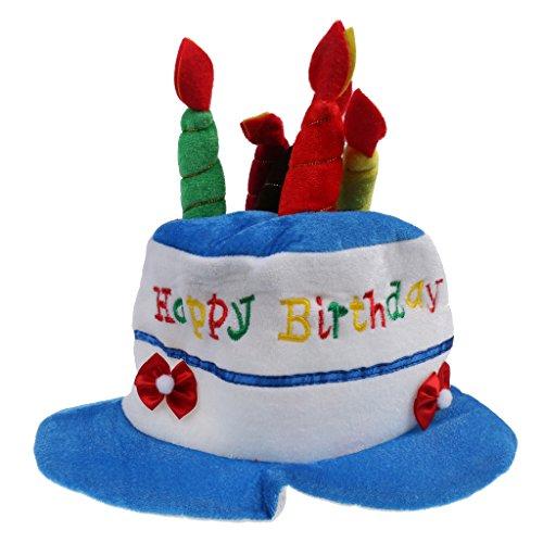 Geburtstags Hut mit Kerzen, Happy Birthday Hut, Kindergeburtstags, Torten - Hut, Geburtstags - Party - Hut - Blau, Klein