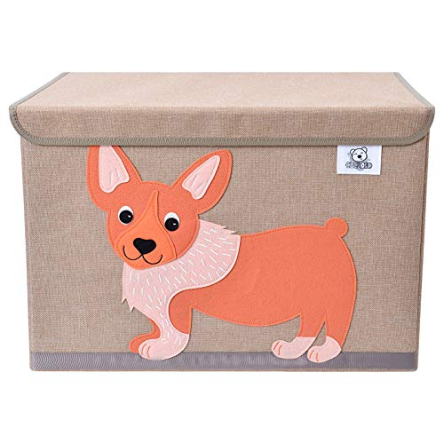 CLCROBD Foldable Kids Large Toy Chest with Flip-Top Lid, Collapsible Fabric Animal Toy Storage Organizer/Bin/Box/Basket/Trunk for Toddler, Children and Baby Nursery (Dog)