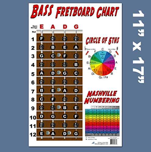 4 String Bass Fretboard Poster Nashville Numbering System Circle of 5ths Instructional Notes Fifths A New Song Music