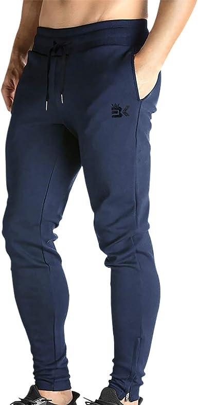 Broki - Pantalones de chándal ajustados con cremallera para hombre, pantalones deportivos informales para correr, ir al gimnasio, pantalones chinos de ...