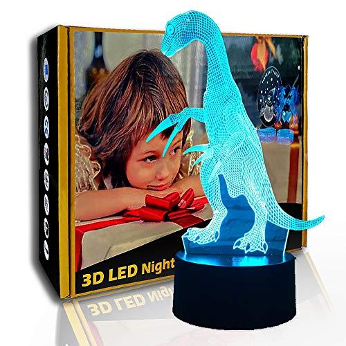 KangYD 3D-Nachtlicht-Jura-Dinosaurier, LED-Illusionslampe, Kindergeschenk, D - Remote Crack White (7 Farbe), Valentinstag Geschenk, Optische Täuschungslampe, Geschenk für Kind, Warme Lampe