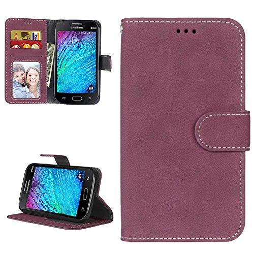 Samsung i9060 Galaxy Grand Neo Hülle Leder Tasche, Samsung Galaxy Grand Neo Plus Handyhülle Klassisch Brieftasche Stoßfest Schutzhülle Elegant Handytasche Flip Case Cover, Rot