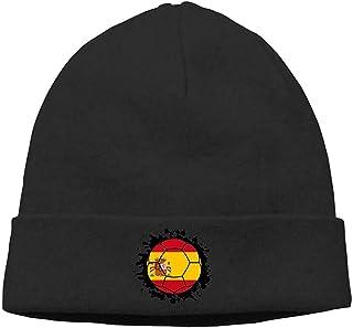 LinUpdate-Store Spain Flag Soccer Ball Hombres Mujeres Unisex Hedging Hat Sombrero de Punto Negro
