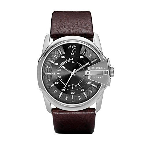 Diesel Men's Master Chief Quartz Leather Three-Hand Watch, Color: Chocolate Brown (Model: DZ1206)