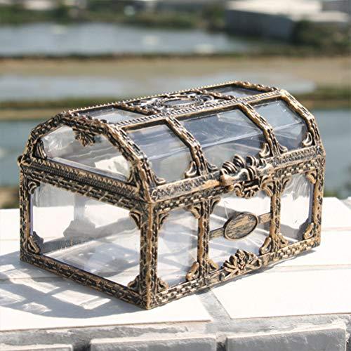 Mini cofre del tesoro pirata transparente para joyas, organizador de almacenamiento de...