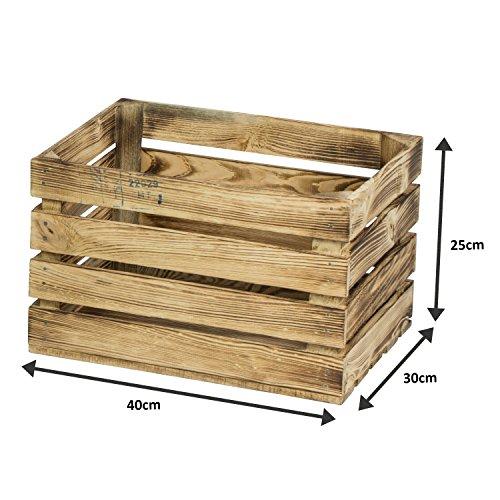 LAUBLUST 3er Set Große Vintage Holzkisten - 40x30x25cm, Geflammt, Neu, Unbenutzt | Möbel-Kiste | Wein-Kiste | Obst-Kiste | Apfel-Kiste | Deko-Kiste aus Holz - 6