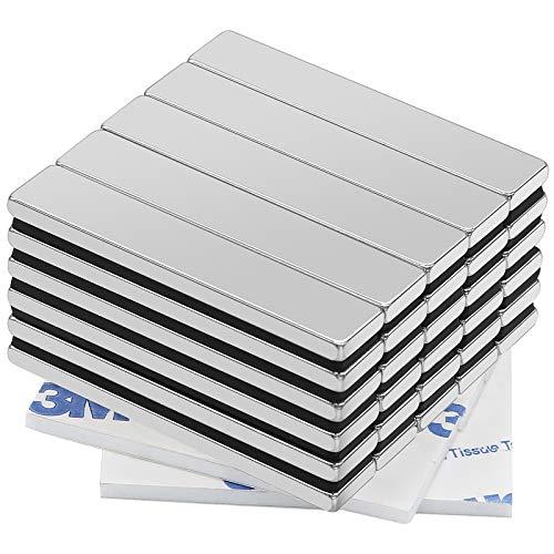 Neodym Magnete, 30 Stück Viereckig Ziegel Magnete mit Selbstklebende, 50x10x3 mm N52 Super Stark Seltenerdmagnete, Rare Earth Permanentmagnet für DIY Building Craft Office