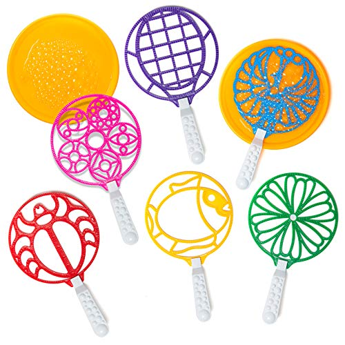 Bubble Wands - Jumbo Colorful Bubble Wand Toy Set - Assortment of Large Wands - For Kids and Adults - 2 Giant Trays Will Make Lots of Bubbles - Boys & Girls Summer Outdoor Fun Bubble Toys - Activity P
