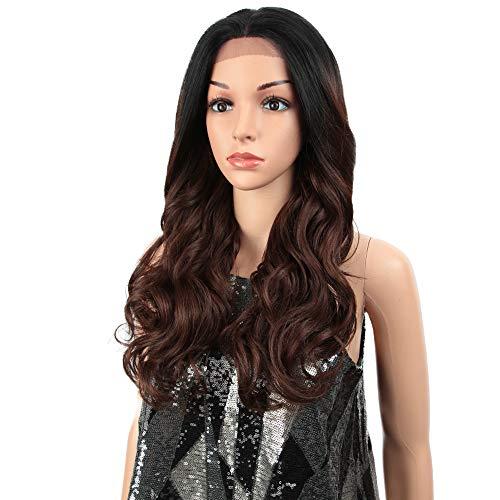 HAIRCARE Cheveux 13x4 Synthétique Avant De Dentelle Perruque pour Les Femmes Noires,24 Pouces en Vrac Ondulés Brown Ombre Perruques,Osplay Afro Cheveux Longs-a