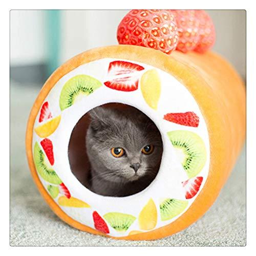 Aiglen Tarta de frutas Almohadilla para cama Mantener caliente Perrera Gato Estera para dormir Casa nido Cálida Casa de gato extraíble Cama de túnel para mascotas (Color : Cake roll cat litter)