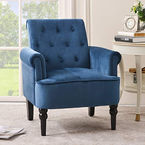 Merax Accent Chair Armchair for Bedroom, Living Room or Office, Elegant Button Tufted Roll Arm Design with Wooden Legs, Club, Navy Blue