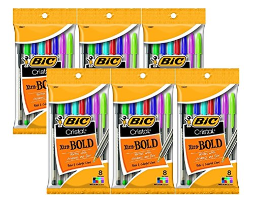 Bic Cristal Xtra Bold Ballpoint Pens, 1.6mm, Bold Point, Assorted Colors, Total 48 Pens (6 X 8 Count Packages)