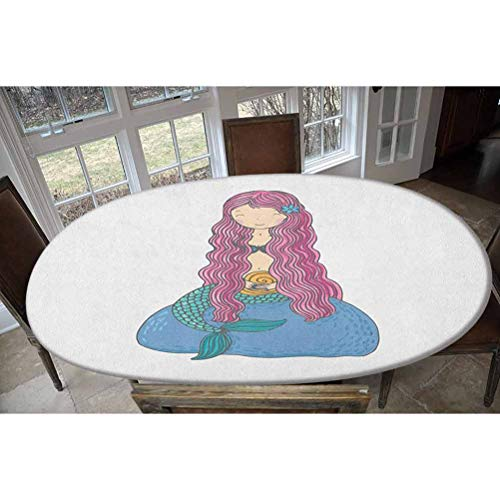 Mantel ajustable de poliéster elástico, con una concha y pelo rosa largo, ideal para mesas de hasta 48 pulgadas de ancho x 68 pulgadas de largo