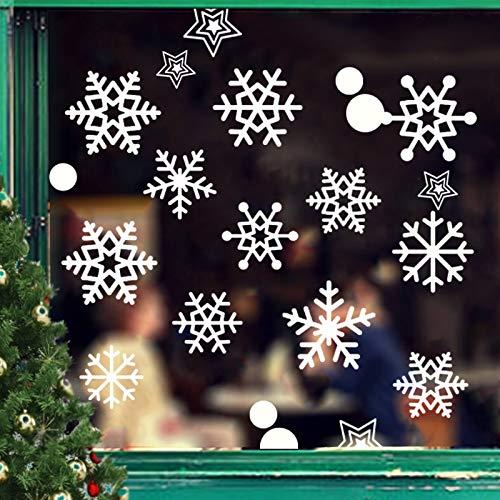 JUYOO 108 Weihnachts Schneeflocke Fenster haftet Aufkleber, Abnehmbare Statisch Weihnachten Fensterbild für Weihnachts Fenster Anzeige, Partyzubehör, Winter Dekoration (4 Blätter)