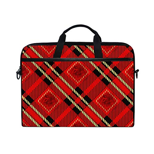 Ahomy 14 Inch Laptop Bag, Red Black And Gold Rose Tartan Plaid Canvas Fabric Laptop Case Bussiness Handbag With Shoulder Strap for Women and Men
