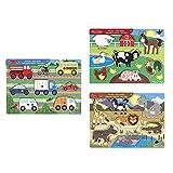 Melissa & Doug Farm Peg Juego Puzzle, Multicolor + Safari Peg Juego Puzzle con 7 Piezas + Vehículos, Rompecabezas de encastre de Madera