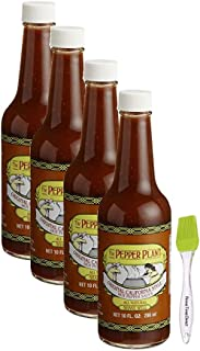 Pepper Plant Original Hot Pepper Sauce, 10 oz (4 pack) Bundled with Silicone Basting Brush in a Prime Time Direct Box
