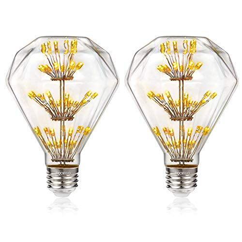 Romantic Retro Starlight Edison Bulb Diamond Shaped 3W 2200K Warm Yellow Clear Glass LED Filament for Suitable Industrial Style Lamp Wall Lamp Mood Lighting 2PACK