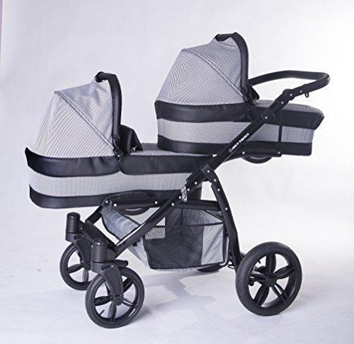 Geschwisterwagen / Zwillingswagen, 2x Babywanne + 2x Buggy + 2 Babyschale + 2 Isofix + 2 polare Säcken. Grau + Schwarz