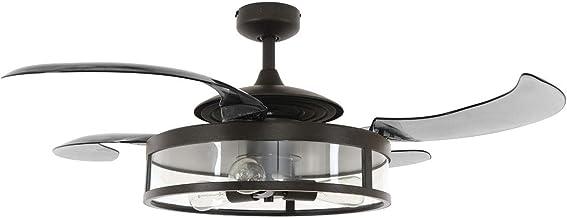 FANAWAY Classic plafondventilator/plafondverlichting, metalen behuizing E27, 60 W, zwart (mat), diameter 122 cm