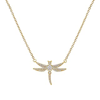 WeimanJewelry Cubic Zirconia CZ Adjustable Dragonfly Chain Necklace for Women Girl