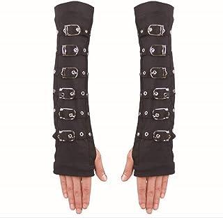 SGJFZD Steampunk Gloves Womens Full Length Half Finger Arm Warmer Satin Gloves Fishion Gloves