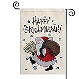 AVOIN colorlife Happy Christmukkah Garden Flag Christmas Hanukkah 12x18 Inch Vertical Double Sided, Santa Claus Menorah Winter Farmhouse Yard Outdoor Decoration