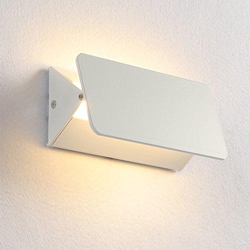 Unimall Wandleuchte LED Wandlampe Innen Modern Nachtlampe Flurlampe mit Verstellarem Lichtwinkel für Treppenhaus Treppe Flur Wohnzimmer Schlafzimmer Weiß