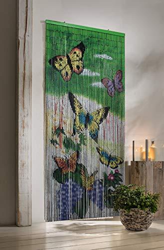 "Bambusvorhang ""Butterfly"" 90x200 cm, Fliegenvorhang, Raumteiler, Türvorhang"