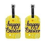 Etiqueta amarilla para equipaje para el día de Pascua, para mujeres, hombres, niños, personalizada, juego de 2 maletas, identificación de viaje, señora, bolso de mano con hebilla de piel
