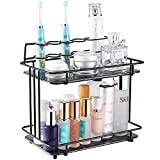 YURONG 2-Tier Bathroom Countertop Organizer, Standing Shelf Vanity Tray Cosmetic Makeup Storage,Wrought Iron Toothbrush Holder Toothpaste Holder Stand, Black