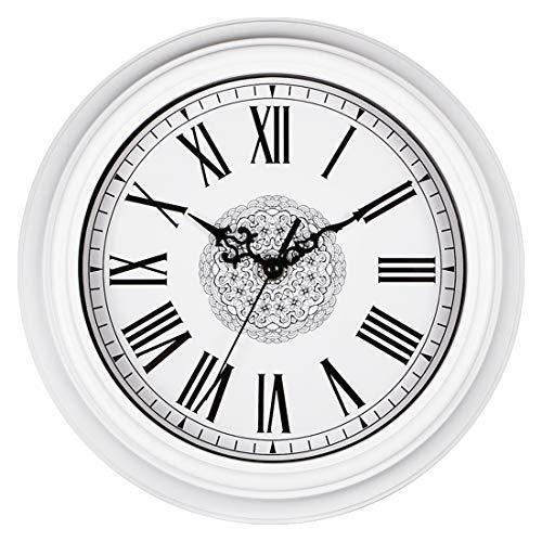 Topkey Horloge Murale 12 inch Silencieuse Vintage Pendules Murales pour Le Salon Cuisine Chambre à Coucher Bureau à Domicile - Blanc