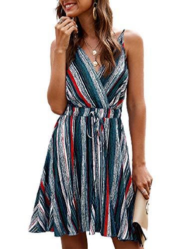 LAIKITITE Vestido de rayas para mujer, con cuello en V, correas ajustables, sin espalda, cintura plisada, dobladillo mini vestido