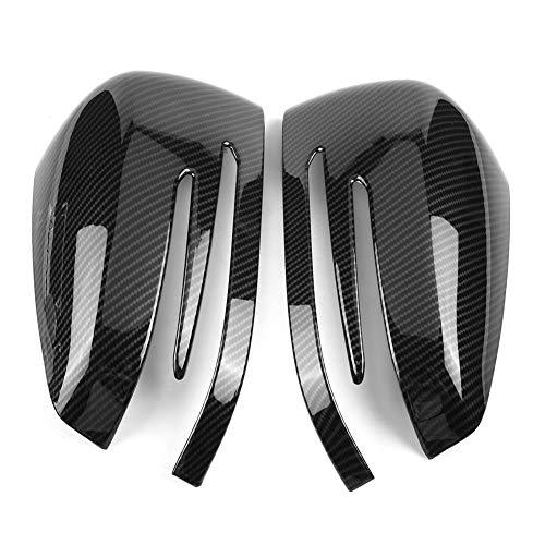 Cubierta espejo retrovisor carbono Qiilu Cubierta de la tapa del espejo retrovisor del coche Cubierta del espejo retrovisor para A B C E S Class CLA GLK GLA Class W204 W246 Fibra de carbono (Negro)