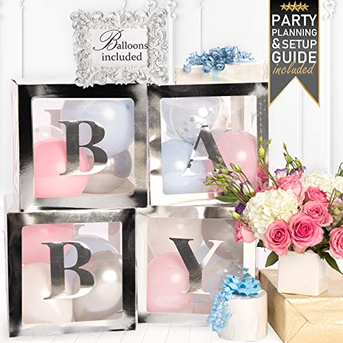 PRIMEPURE Premium Silver Baby Boxes - For Gender Reveal, Gender Reveal Party Supplies, Gender Reveal Decorations, Baby Shower, Baby Shower Decorations For Girl and Baby Shower Decorations For Boy
