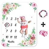 Baby Monthly Milestone Blanket Girl Boy, Month Age Blankets Unisex, Customized Baby Growth Chart Blanket for Newborn, Soft Flannel Fleece Babies Blanket for Photo Props with Flower Wreath&Headband