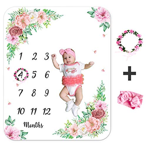 Baby Monthly Milestone Blanket - Flannel Fleece Sheet with Monthly Marker - Pink Flower Wreath & Headband - Foldable Bedsheet for Baby Girl - Photography Props - Floral Quilt for Crib & Stroller