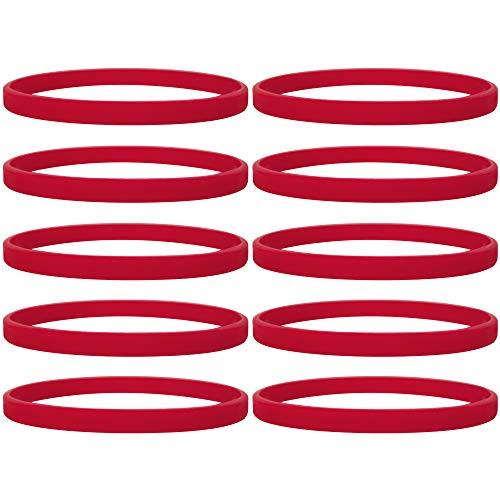 100 Stück Silikon Jelly Armbänder für Jugendliche, Gummi Armreifen, Partyzubehör- Rot