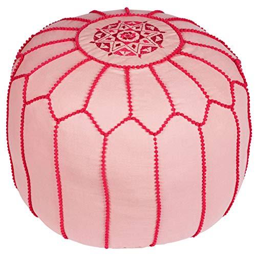 Asiento Redondo Pouf en algodón Chems Rosa ø 45cm Sin relleno | Cojín de asiento Cojín de suelo Cojines Orientales | Taburete de asiento Taburete de pie bordado como decoración oriental