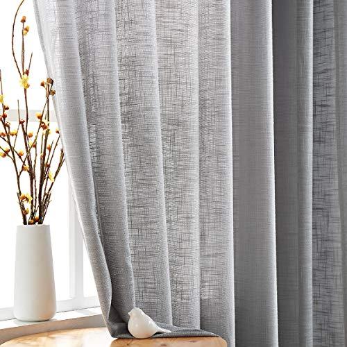 "Fmfunctex Grey Semi-Sheer Curtains for Living Room Rich Linen Textured Window Curtain Draperies 52""w x63""L Grommet Top Set of 2"