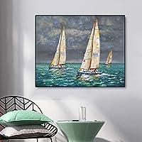 キャンバスペインティング 抽象的なキャンバス絵画ヨットのポスターとプリント海景壁アート写真寝室のリビングルームモダンな家の装飾 50x70cm