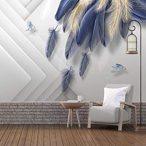 Awttmua Papel Tapiz Fotográfico 3D Murales Moda Moderna Pluma Azul Dorada Geométrica Sala De Estar Tv Telón De Fondo Mural De Pared 450cmx300cm