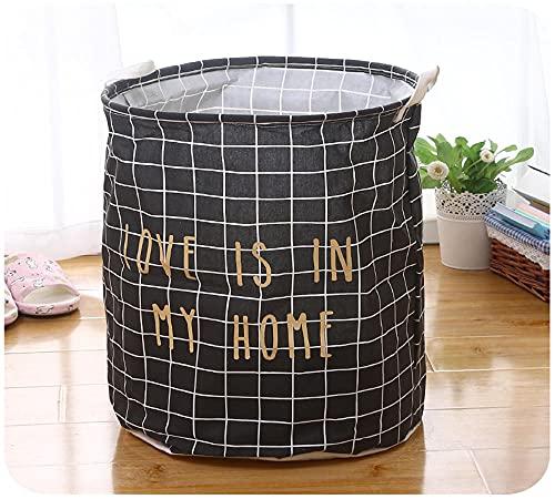 ROMDEANK Fabric Storage Basket Organizer with Handles, Foldable Waterproof Laundry Storage Bin,for Desktop Storage and Household Organizer,Black letters,40 X 50CM