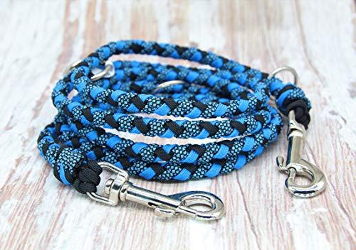 Stabile Hundeleine aus paracord schwarz blau 1,80 cm lang!